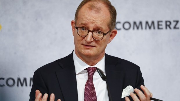 Martin Zielke, chief executive officer of Commerzbank AG, gestures while speaking during a fourth quarter earnings news conference at the bank's headquarters in Frankfurt, Germany, on Thursday, Feb. 13, 2020. Commerzbank plans further cost cuts after reporting that last year ended with rising revenue and stronger capital buffers, giving Zielke more breathing room to get his turnaround on track.