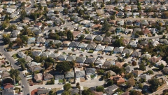 Houses stand in this aerial photograph taken near Mountain View, California, U.S., on Wednesday, Oct. 23, 2019.
