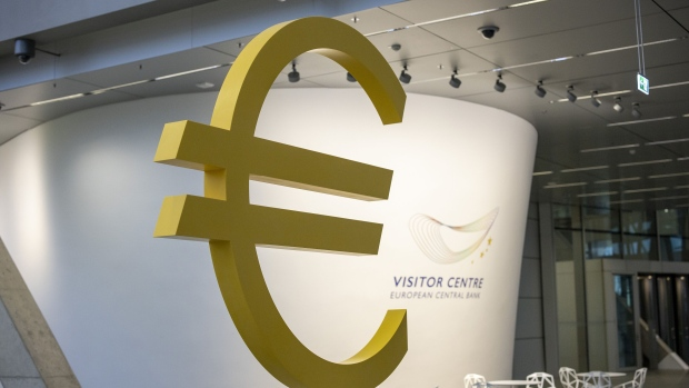 A euro currency symbol sits on display in the visitor centre at the European Central Bank (ECB) building in Frankfurt, Germany, on Monday, Nov. 4, 2019. The ECB started a new era on Friday when Christine Lagarde became the institution's first female president -- and for now its sole female policy maker.
