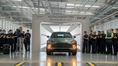 The first Aston Martin DBX SUV rolls off the assembly line in Wales on July 9, 2020.