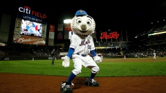 Mr. Met greets the crowd during a game at Citi Field in Queens, New York. :