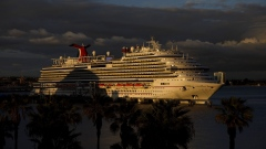 The Carnival Panorama cruise ship sits docked in Long Beach, California on March 7, 2020.