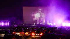 A drive-in concert in Dusseldorf, Germany.
