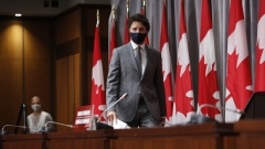 Justin Trudeau arrives at an Ottawa news conference on July 8.