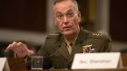 "General Joseph Dunford, chairman of the Joint Chiefs of Staff, speaks during a Senate Armed Services Committee hearing in Washington, D.C., U.S., on Thursday, April 11, 2019. A slew of overlapping White House and Pentagon proposals to reshape U.S. military space operations, development and acquisition ""could present considerable challenges"" to the Pentagon's effective functioning in the next war-fighting realm, according to a report from Congress's research arm."