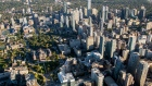 Buildings stand in the downtown skyline in this aerial photograph taken above Toronto, Ontario, Canada, on Monday, Oct. 2, 2017.