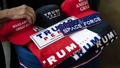 Campaign merchandise is displayed for sale before a rally with U.S. President Donald Trump in Charlotte, North Carolina, on Monday, March 2, 2020.