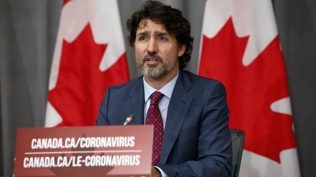 Justin Trudeau speaks during an Ottawa news conference on July 16, 2020.