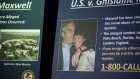 A photograph of Ghislaine Maxwell and Jeffrey Epstein is displayed during a news conference at the U.S. Attorney's Office in New York on July 2, 2020.
