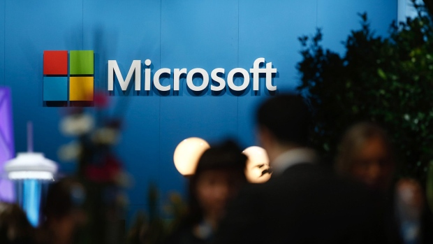 A logo sits on display outside the Microsoft Corp. pavilion at the Mobile World Congress in Barcelona