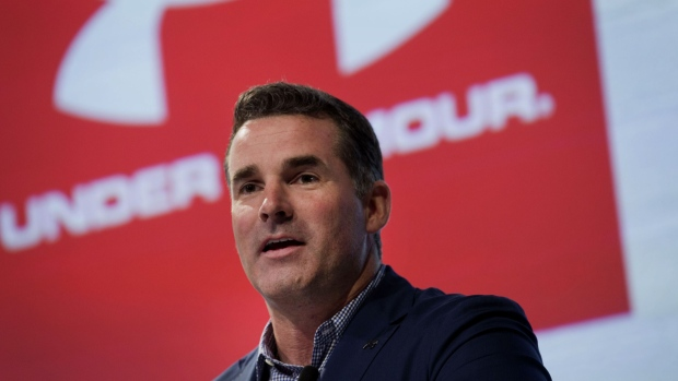 Kevin Plank, chief executive officer of Under Armour Inc., speaks during a news conference in New York, U.S., on Thursday, July 31, 2014.