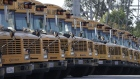 Navistar International Corp. school buses are stored at the San Diego Unified School District Transportation Department in San Diego, California, U.S., on Thursday, July 9, 2020.