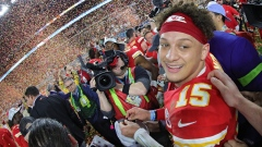 Patrick Mahomes of the Kansas City Chiefs celebrates after defeating the San Francisco 49ers in Super Bowl LIV in Miami on Feb. 2.
