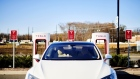 A Tesla Inc. electric vehicle sits parked in front of a charging station, part of the Main Street North Brunswick development project, in North Brunswick, New Jersey, U.S., on Wednesday, Nov. 13, 2019.