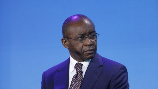 Strive Masiyiwa, founder and chairman of Econet Wireless Global Ltd., attends a panel discussion at the Bloomberg New Economy Forum in Singapore, on Tuesday, Nov. 6, 2018. The New Economy Forum, organized by Bloomberg Media Group, a division of Bloomberg LP, aims to bring together leaders from public and private sectors to find solutions to the world's greatest challenges.