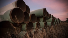 Miles of unused pipe, prepared for the proposed Keystone XL pipeline, sit in a lot on October 14, 2014 outside Gascoyne, North Dakota. (Photo by Andrew Burton/Getty Images) Photographer: Andrew Burton/Getty Images North America