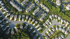 Aerial view of homes and partially developed lots in neighbourhoods northwest of Atlanta. Bloomberg/