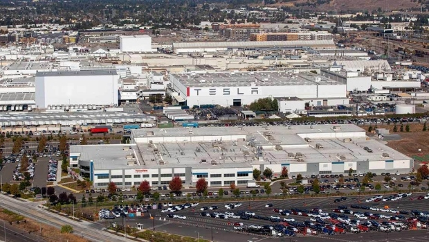 Tesla's assembly plant in Fremont, Calif. Photographer: Sam Hall/Bloomberg