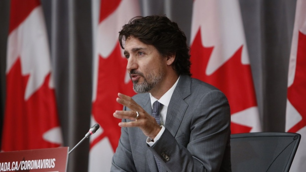 Justin Trudeau, Canada's prime minister, speaks during a news conference in Ottawa, Ontario, Canada, on Wednesday, July 8, 2020. Trudeau is set to release his first estimate of the full cost of the effort to buffer Canada from its deepest recession since the 1930s.