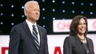 2020 Democratic Presidential Candidates former U.S. Vice President Joe Biden, left, and Senator Kamala Harris, a Democrat from California, stand on stage during of the Democratic presidential candidate debate in Detroit, Michigan, U.S., on Wednesday, July 31, 2019.