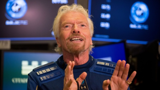 Richard Branson, founder of Virgin Group Ltd., speaks during an interview following Virgin Galactic Holdings Inc.'s initial public offering (IPO) on the floor of the New York Stock Exchange (NYSE) in New York, U.S., on Monday, Oct. 28, 2019. Virgin Galactic Holdings Inc. became the first space-tourism business to go public as it began trading Monday on the New York Stock Exchange with a market value of about $1 billion.
