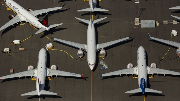Boeing 737 MAX airplanes are seen parked at the company's property in Seattle. Photographer: David Ryder/Getty Images North America