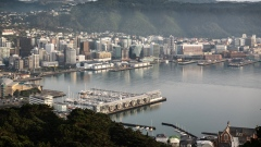 Wellington harbour and the city's skyline are seen from an observation deck at Mount Victoria Lookout in Wellington, New Zealand, on Wednesday, July 29, 2020. New Zealand's border is closed to all foreigners, while citizens and permanent residents entering the country must undertake a 14-day mandatory quarantine.