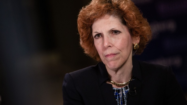 "Loretta Mester, president of the Federal Reserve Bank of Cleveland, pauses during a Bloomberg Television interview at the French central bank and Global Interdependance Center (GIC) conference in Paris, France, on Monday, May 14, 2018. European Central Bank policy maker Francois Villeroy de Galhau said the first interest-rate increase could come ""some quarters, but not years"" after policy makers end their bond-buying program."
