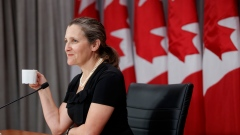 Deputy Prime Minister Chrystia Freeland speaks during a press conference in Toronto, Friday, Aug. 7,