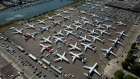 Boeing 737 MAX airplanes are seen parked on Boeing property along the Duwamish River near Boeing Field on August 13, 2019 in Seattle, Washington. Photographer: David Ryder/Getty Images