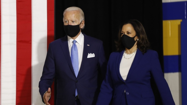 Joe Biden and Kamala Harris arrive to a campaign event in Wilmington, Delaware on Aug. 12.