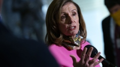 "U.S. House Speaker Nancy Pelosi, a Democrat from California, speaks to members of the media following a meeting at the U.S. Capitol in Washington, D.C., U.S., on Friday, Aug. 7, 2020. No agreement on a final deal has been reached, after U.S. Treasury Secretary Steven Mnuchin told reporters an offer from Democrats to come down by $1 trillion for a stimulus deal is ""a non starter."""