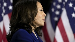 Senator Kamala Harris, presumptive Democratic vice presidential nominee, listens during a campaign event in Wilmington, Delaware, U.S., on Wednesday, Aug. 12, 2020. Harris brings an aggressive approach to politics and public policy, deep electoral experience and hands-on expertise in the beleaguered U.S. criminal justice system as Joe Biden's running mate.
