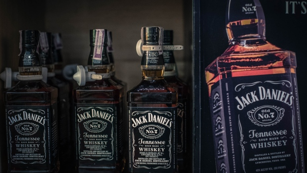 Bottles of Brown-Forman Corp. Jack Daniel's brand whiskey sits on display for sale at a liquor store in the La Castellana neighborhood of Caracas, Venezuela, on Thursday, July 12, 2018. After decades of whisky drinking, Venezuelans are turning to domestic rum as hyperinflation has raised the prices of top-shelf Scotch to over one billion bolivars. Photographer: Carlos Becerra/Bloomberg