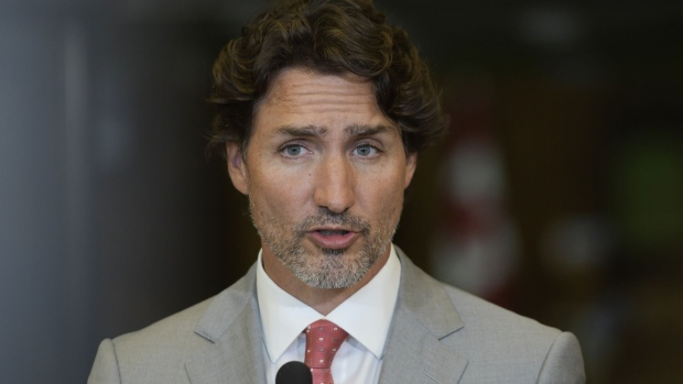 Justin Trudeau, Canada's prime minister, speaks during a news conference in Ottawa, Ontario, Canada, on Tuesday, Aug. 18, 2020.