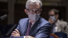 Jerome Powell, chairman of the U.S. Federal Reserve, wears a protective mask while testifying during a House Financial Services Committee hearing in Washington, D.C., U.S., on Tuesday, June 30, 2020.