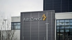 The AstraZeneca Plc logo sits on an building at the company's facilities in Sodertalje, Sweden, on Thursday, April 11, 2019. AstraZeneca raised its annual sales forecast, helped by demand for the U.K. drugmaker's roster of new cancer drugs.