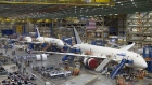 A Boeing 787 Dreamliner on the assembly line at the Everett factory in Washington. Photographer: Patrick T. Fallon/