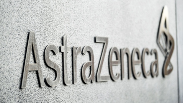 The AstraZeneca Plc sits on a wall at their facilities in Soedertaelje, Sweden, on Thursday, April 11, 2019. AstraZeneca raised its annual sales forecast, helped by demand for the U.K. drugmaker's roster of new cancer drugs. Photographer: Mikael Sjoberg/Bloomberg