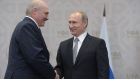 UFA, RUSSIA - JULY 8: In this handout image supplied by Host Photo Agency / RIA Novosti, President of the Russian Federation Vladimir Putin (R) meets President of the Republic of Belarus Alexander Lukashenko during the BRICS/SCO Summits - Russia 2015 on July 08, 2015 in Ufa, Bashkortostan, Russia. (Photo by Sergey Guneev/Host Photo Agency/Ria Novosti via Getty Images)