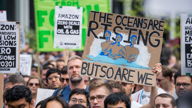 In September 2019, thousands of Amazon workers joined the Global Climate Strike. Photographer: Chloe Collyer/Bloomberg