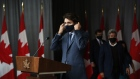 Justin Trudeau arrives at an Ottawa news conference on Sept. 16.