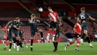 Danny Ings of Southampton wins a header during a match between Southampton FC and Brentford FC at St. Mary's Stadium in Southampton, England in Sept. 16.