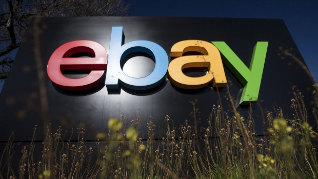 EBay Inc. signage is displayed at the entrance to the company's headquarters in San Jose, California.
