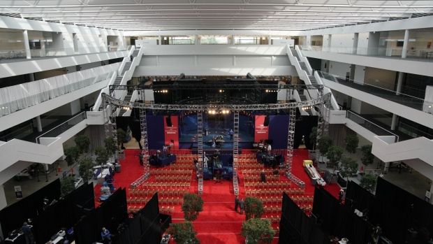 Workers prepare the stage ahead of the first U.S. presidential debate at Case Western Reserve University in Cleveland, Ohio.