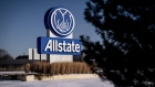 Allstate Corp. signage stands on display outside the company's headquarters in Northbrook, Illinois, U.S., on Tuesday, Jan. 21, 2020. For more than a decade, auto insurers have had ways to watch a driver's behavior, often using phone apps or so-called telematic devices that connect to a vehicle and send data to the insurers. Now, Allstate, is going a step further by translating the data into an insurance rate that can vary from week to week. Photographer: Christopher Dilts/Bloomberg