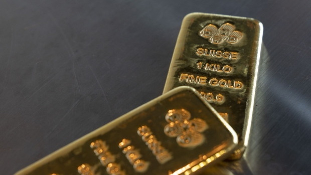 A Pamp SA hallmark sits on Swiss-made one kilogram gold bars on display at the Precious Metals Exchange (SGPMX) at Le Freeport in Singapore, on Tuesday, Sept. 15, 2020. Gold is having trouble building on gains that pushed it to a record $2,075.47 an ounce last month, posting weekly losses in three of the past four weeks.