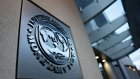 Signage hangs at the International Monetary Fund (IMF) headquarters in Washington, D.C., U.S., on Tuesday, April 14, 2020.