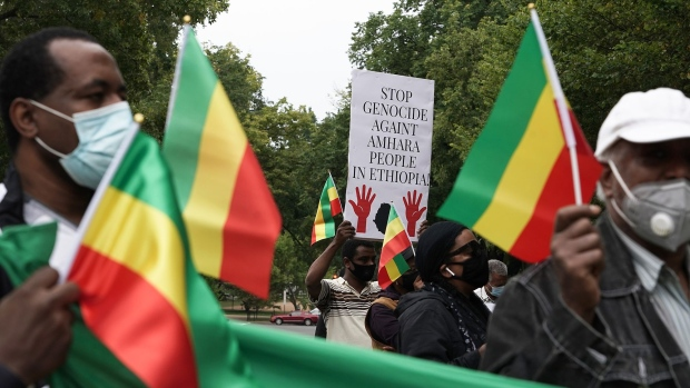 Members of the local Ethiopian Community demonstrate outside the U.S. State Department in Washington, D.C. on Sept. 25.