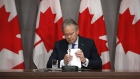 Stephen Poloz, outgoing governor of the Bank of Canada, gathers papers following a news conference on Parliament Hill in Ottawa, Ontario, Canada, on Friday, May 1, 2020.